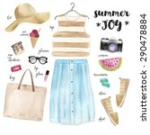 summer outfit. hand drawn... | Shutterstock . vector #290478884