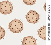 seamless pattern with cookies... | Shutterstock .eps vector #290481773