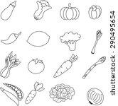 vegetable  icon set . | Shutterstock . vector #290495654