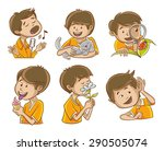happy man illustrates the five... | Shutterstock .eps vector #290505074