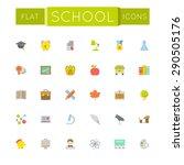 vector flat school icons | Shutterstock .eps vector #290505176