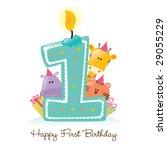 Happy First Birthday Candle An...