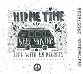 vintage hippie time print with... | Shutterstock .eps vector #290576036