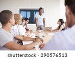 businessman by screen...   Shutterstock . vector #290576513