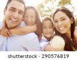 parents giving children... | Shutterstock . vector #290576819