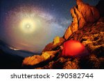 tent and the milky way.... | Shutterstock . vector #290582744