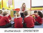 elementary school pupils... | Shutterstock . vector #290587859