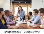 female boss addressing office... | Shutterstock . vector #290588990