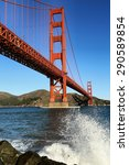 Small photo of SAN FRANCISCO, CA/USA - JANUARY 31, 2015: Golden Gate Bridge with surge of waves.