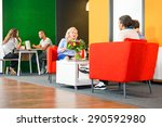 several people sitting in a... | Shutterstock . vector #290592980