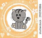 lovely baby cat kitty heart... | Shutterstock .eps vector #290593886