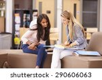 female college student working... | Shutterstock . vector #290606063