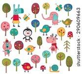 set of cartoon characters over... | Shutterstock . vector #290609663