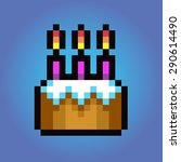 birthday cake  pixel art vector ... | Shutterstock .eps vector #290614490