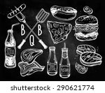bbq party foods set. poster... | Shutterstock .eps vector #290621774