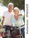 senior couple on cycle ride... | Shutterstock . vector #290626229