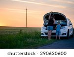 rear view of a mother and son... | Shutterstock . vector #290630600