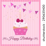 pink postcard with cupcake.... | Shutterstock .eps vector #290635400