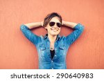 trendy brunette girl  making... | Shutterstock . vector #290640983