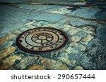 manhole drain cover on rough... | Shutterstock . vector #290657444