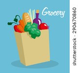 grocery paper bag with... | Shutterstock .eps vector #290670860