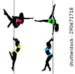 four pole dancers  sexy women's ... | Shutterstock .eps vector #290671718