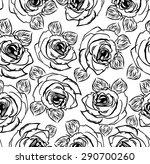 seamless black rose flower... | Shutterstock .eps vector #290700260