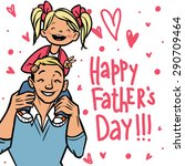 funny cartoon father and his... | Shutterstock .eps vector #290709464