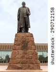 Small photo of ALMATY, KAZAKHSTAN - JUNE 25, 2015: Monument of Abay Qunanbayuli - was a great Kazakh poet, composer and philosopher. Monument established in 1960 front of the Palace of the Republic in Almaty.