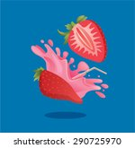 fresh strawberry fruit juice... | Shutterstock .eps vector #290725970