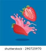 fresh strawberry fruit juice... | Shutterstock .eps vector #290725970