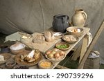 Stock photo a display of anglo saxon and early medieval food 290739296