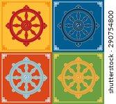 dharma wheel dharmachakra icons.... | Shutterstock .eps vector #290754800