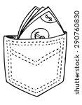 hand draw money at back pocket   | Shutterstock .eps vector #290760830