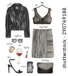 watercolor fashion illustration.... | Shutterstock . vector #290769188