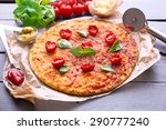pizza with basil and cherry... | Shutterstock . vector #290777240