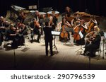 Small photo of DNIPROPETROVSK, UKRAINE - JUNE 22, 2015: FOUR SEASONS Chamber Orchestra - main conductor Dmitry Logvin perform at the State Russian Drama Theatre