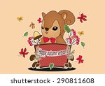 squirrel cartoon in autumn... | Shutterstock .eps vector #290811608