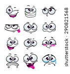 set of funny cartoon faces ... | Shutterstock .eps vector #290821568