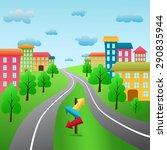 panoramic cityscape...   Shutterstock .eps vector #290835944