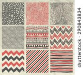 set of nine red and grey... | Shutterstock .eps vector #290843834