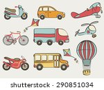 hand drawn transportation icon... | Shutterstock .eps vector #290851034