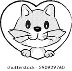 cat with heart shape | Shutterstock .eps vector #290929760