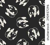 panda doodle seamless pattern...   Shutterstock .eps vector #290937296