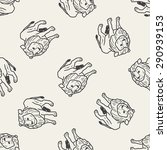 lion doodle seamless pattern... | Shutterstock .eps vector #290939153