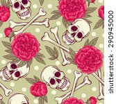 seamless pattern with skull and ... | Shutterstock .eps vector #290945000