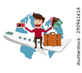 world travel. man travel around ...   Shutterstock .eps vector #290961614