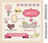 romantic set for a wedding.... | Shutterstock .eps vector #290963216
