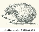 young cute cheerful hedgehog... | Shutterstock .eps vector #290967509