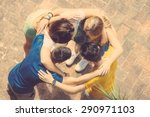 group of teenagers embraced in...   Shutterstock . vector #290971103